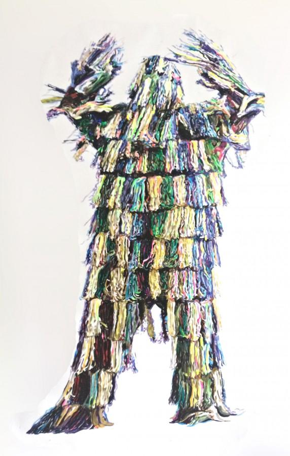 »Baum/Hirsch« 210cm  x 135cm  Acryl auf Papier