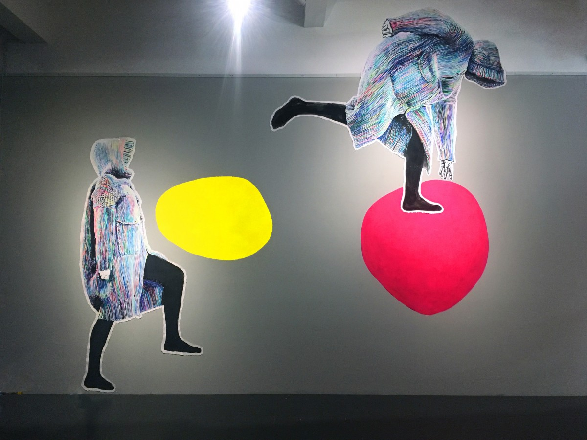 Frucht Flucht« Acryl/Papier gekleistert und Acryl/Wand Jigongshan Art Museum, China