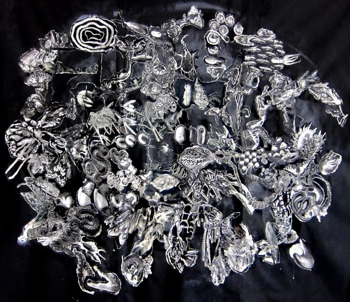 »Gekräuch« collage auf fliestapete