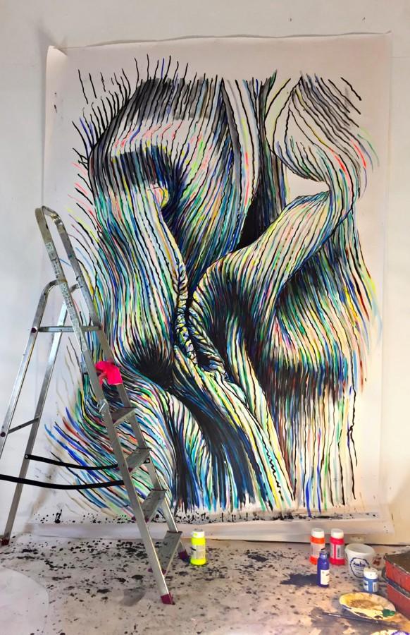»Kuss im Berghain« Acryl/Papier 280cm x 190cm 2018